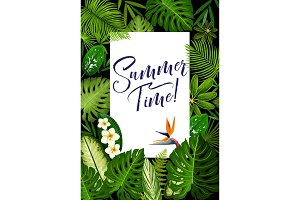 Summer banner with tropical palm