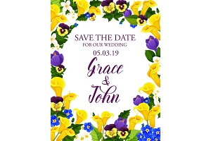 Flowers Save the Date wedding card