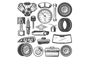 Car spare parts and instruments set