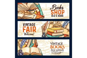 Banners of old rare vintage books