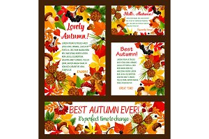 Hello Autumn banner with fall frame