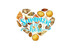 Summer beach seashell heart design