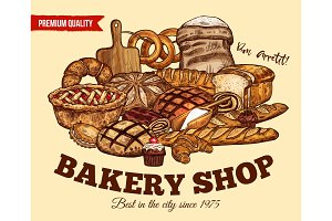 Vector bread poster for bakery shop