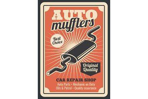 Car auto muffler parts store poster