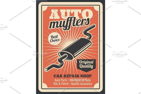Car auto muffler parts store poster