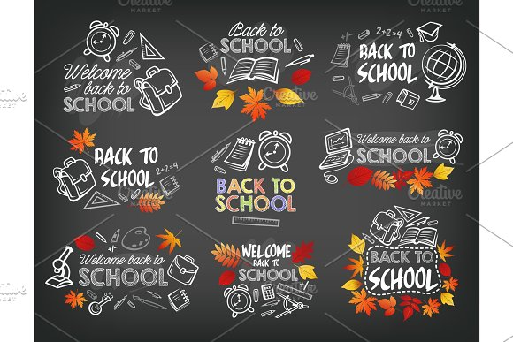 Back to School stationery icons