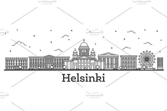 Outline Helsinki Finland City