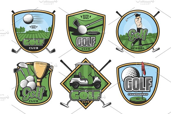 Golf sport icons, ball and golfer