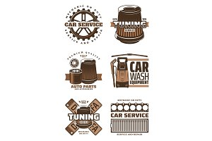 Car service, repair shop icons