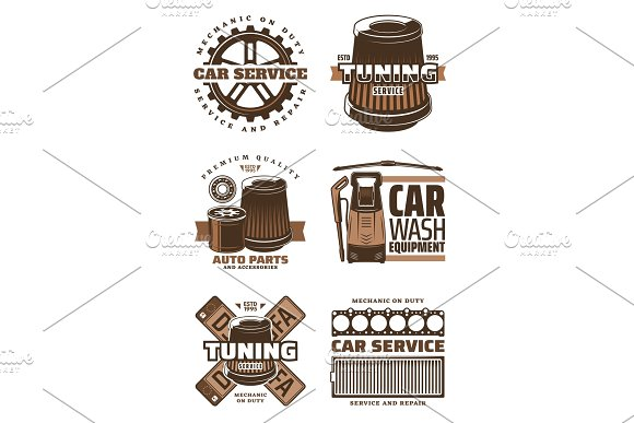 Car service, repair shop icons in Illustrations
