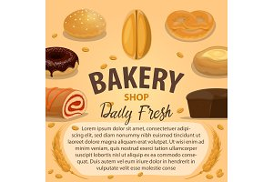 Bakery poster with bread and pastry