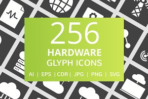 256 Hardware Glyph Inverted Icons