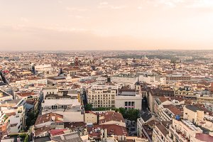 Madrid rooftops and skyline view