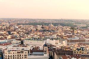 Madrid skyline at sunset