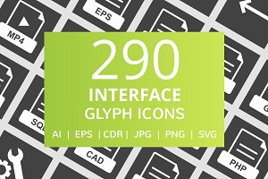 290 Interface Glyph Inverted Icons