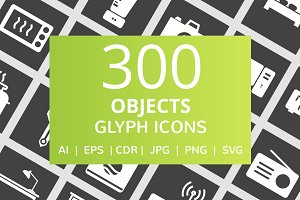 300 Objects Glyph Inverted Icons