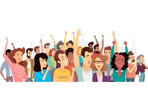 Crowd of Happy People Poster Vector