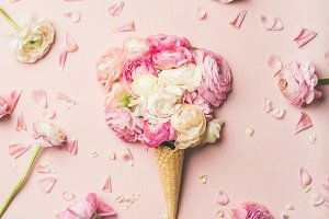 Waffle cone with pink and white