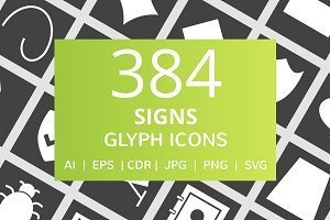 384 Signs Glyph Inverted Icons