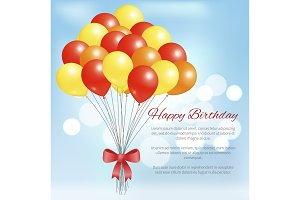 Happy Birthday Postcard Balloons Big