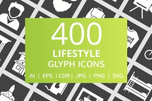 400 Lifestyle Glyph Inverted Icons
