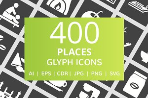 400 Places Glyph Inverted Icons
