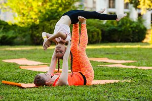 Young acrobats family