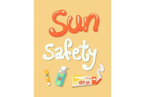 Sun Safety Poster Elements Vector