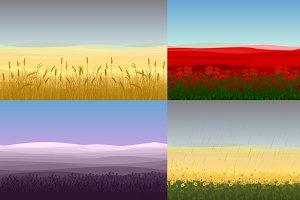 Colorful Field Landscapes Set