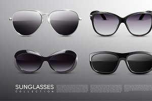 Realistic Fashionable Sunglasses Set