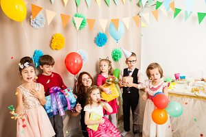 cute kids celebraiting friend s