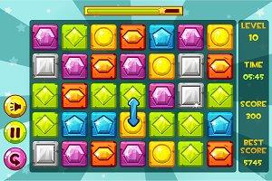 Vector interface GEMS Match3 Games
