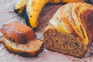 Banana loaf multigrain bread biscuit