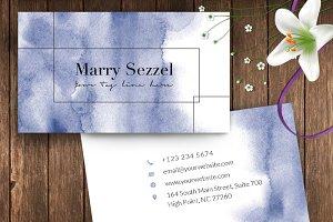 Blue Watercolour Name Card – ID56