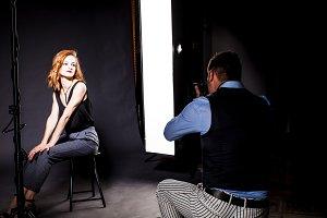 Photographer shooting the model