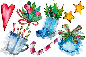 Christmas PNG watercolor set