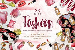 Fashion accessories PNG watercolor