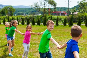 School children having a good time