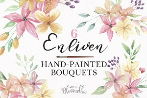 Watercolor Floral Bouquets Pink