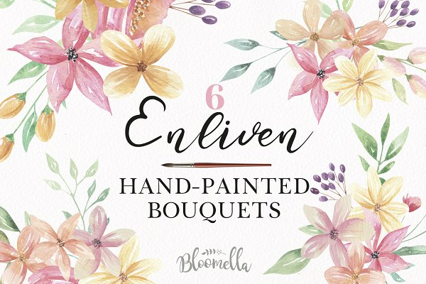 Illustrations and Illustration Products: Bloomella - Watercolor Floral Bouquets Pink