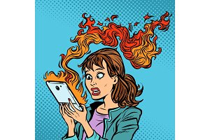 Woman with a burning phone. Hot news