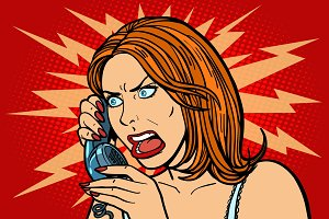 angry Woman talking on the phone