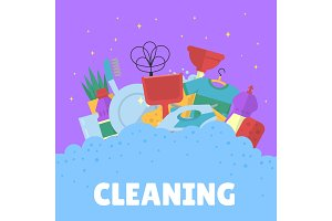 Vector cleaning flat icons with
