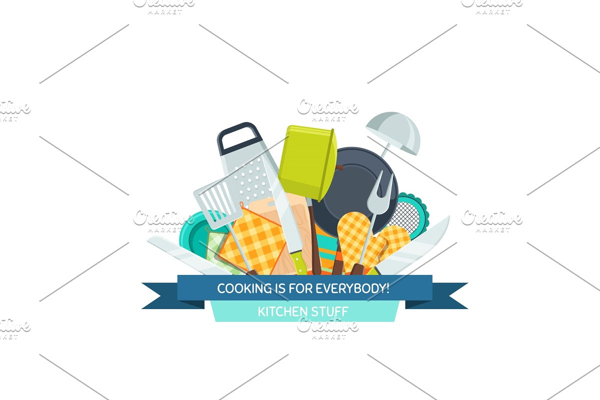 34bcd823c5 Vector kitchen utensils flat icons ~ Graphics ~ Creative Market