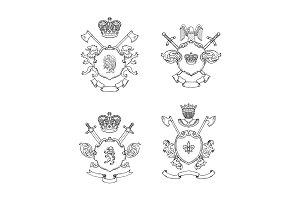 Vector hand drawn heraldics