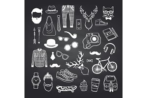 Vector hipster doodle icons on black
