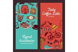 Vector hipster doodle icons banners