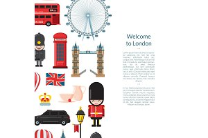 Vector cartoon London sights banner