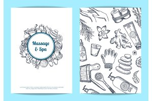 Vector hand drawn spa card, flyer