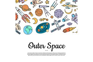 Vector hand drawn space elements
